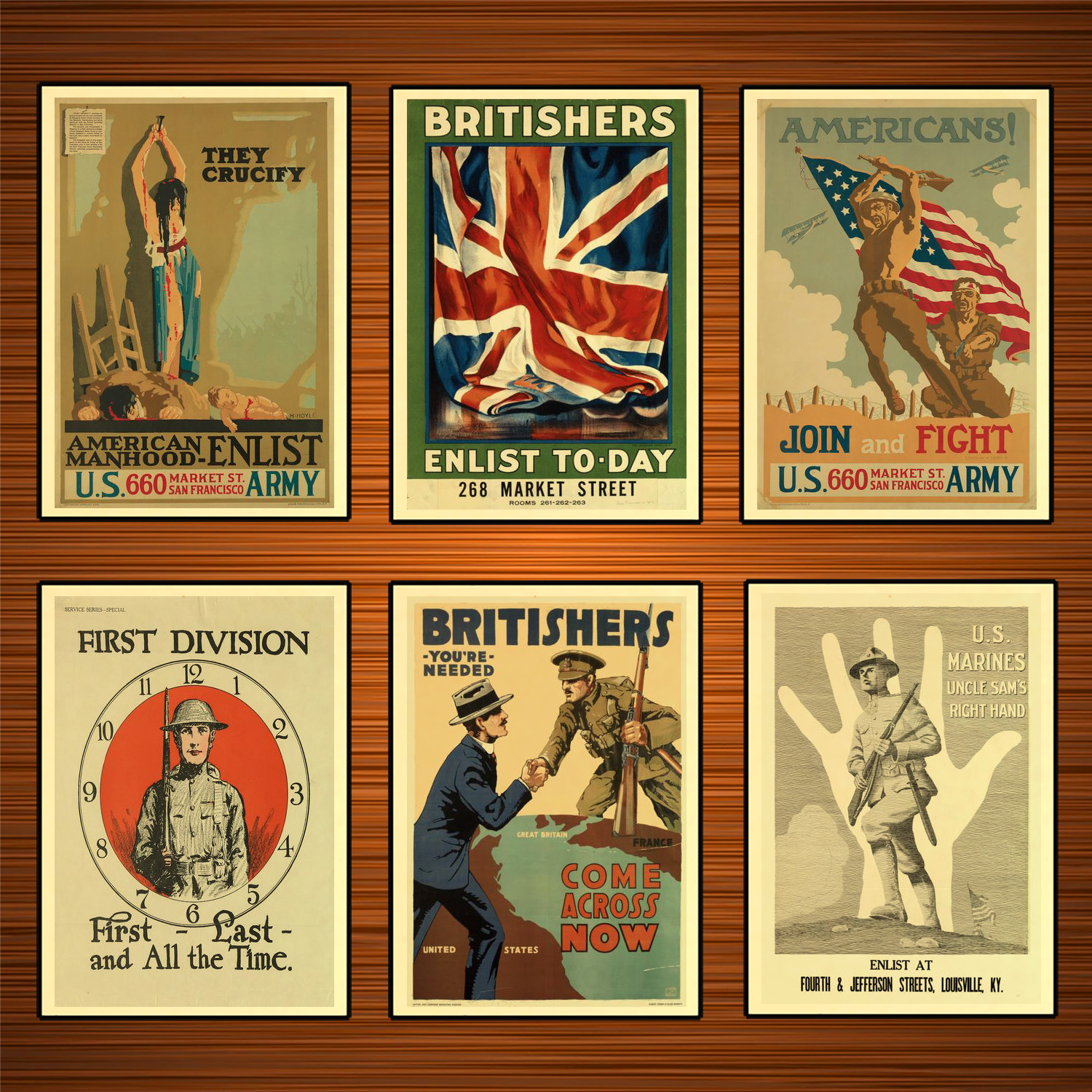 Vintage 1910s USA WW1 Propaganda Poster Britishers Enlist Today Classic Canvas Paintings Wall Stickers Home Decor Gift image