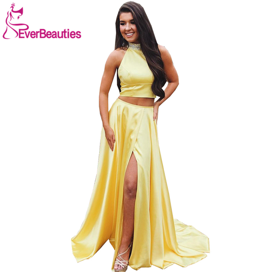 A-Line Long   Prom     Dresses   2019 High Neck Two-Pieces Satin With High Split Yellow Formal   Dresses