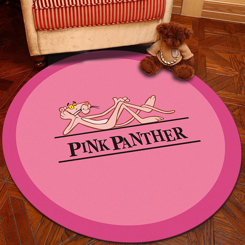 Nodic Pink Panther Room Round Carpet Living Room Bedroom Home Decor Carpet Rug Children Kids Room Soft Play Area Rug Chair Mat