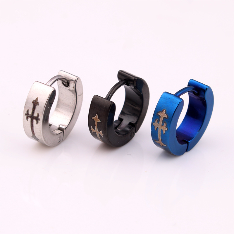 Fashion Cool Men Hoop Earrings Silver Black Stainless Steel Greatwall Cross Charm Round Small Huggie Jewelry 4 13mm In From
