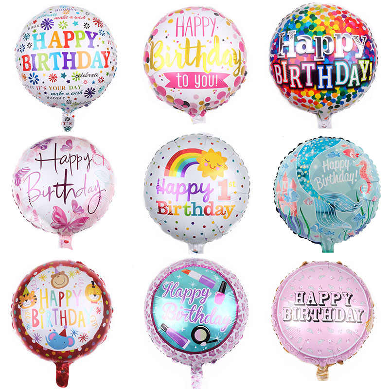 New 33 paterns 18-inch Round Foil Balloon Happy Birthday Inflatable Helium Balloons Birthday Party Decoration High Quality Toy