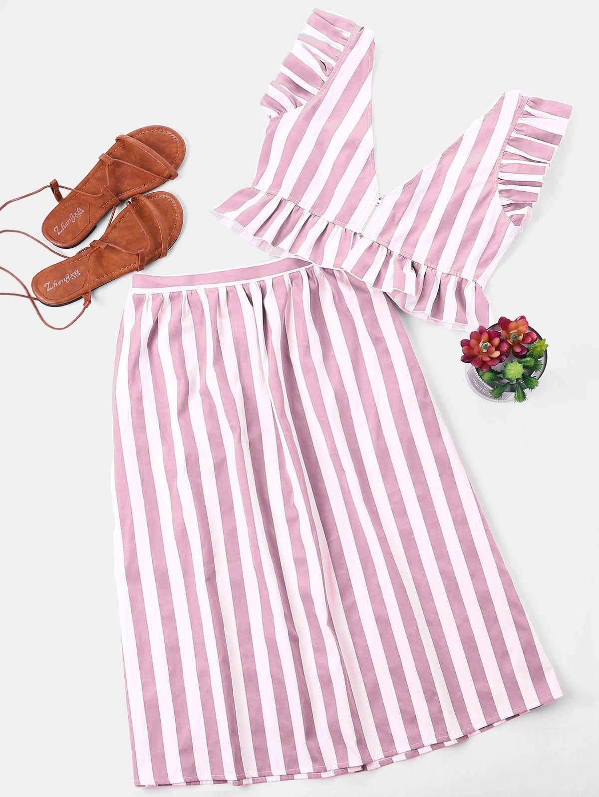 Two Piece Set Summer Women Sleeveless V Neck Crop Top Ruffle Button High Waist Skirts Striped Sets in Women 39 s Sets from Women 39 s Clothing