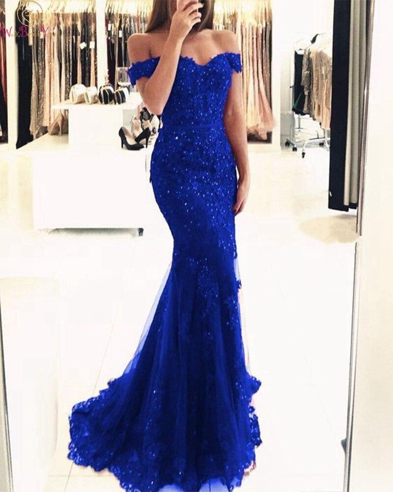 Robes de soirée sirène bleu Royal 2019 nouvelles femmes col bateau Appliques dentelle fête formelle élégante épaule dénudée longue robe de soirée