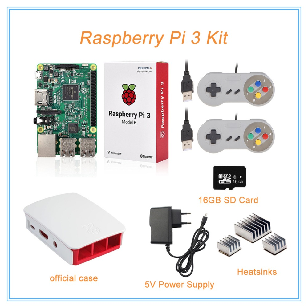 Raspberry Pi 3 Model B + Official Case +5V Power Supply + 2 Gamepads + Heatsink +16Gb SD Card