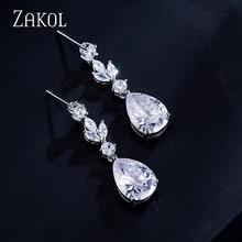 Zakol moda AAA cúbicos ZIRCON pendientes para las mujeres de color blanco joyería de la boda de la hoja al por mayor de la fábrica FSEP4004