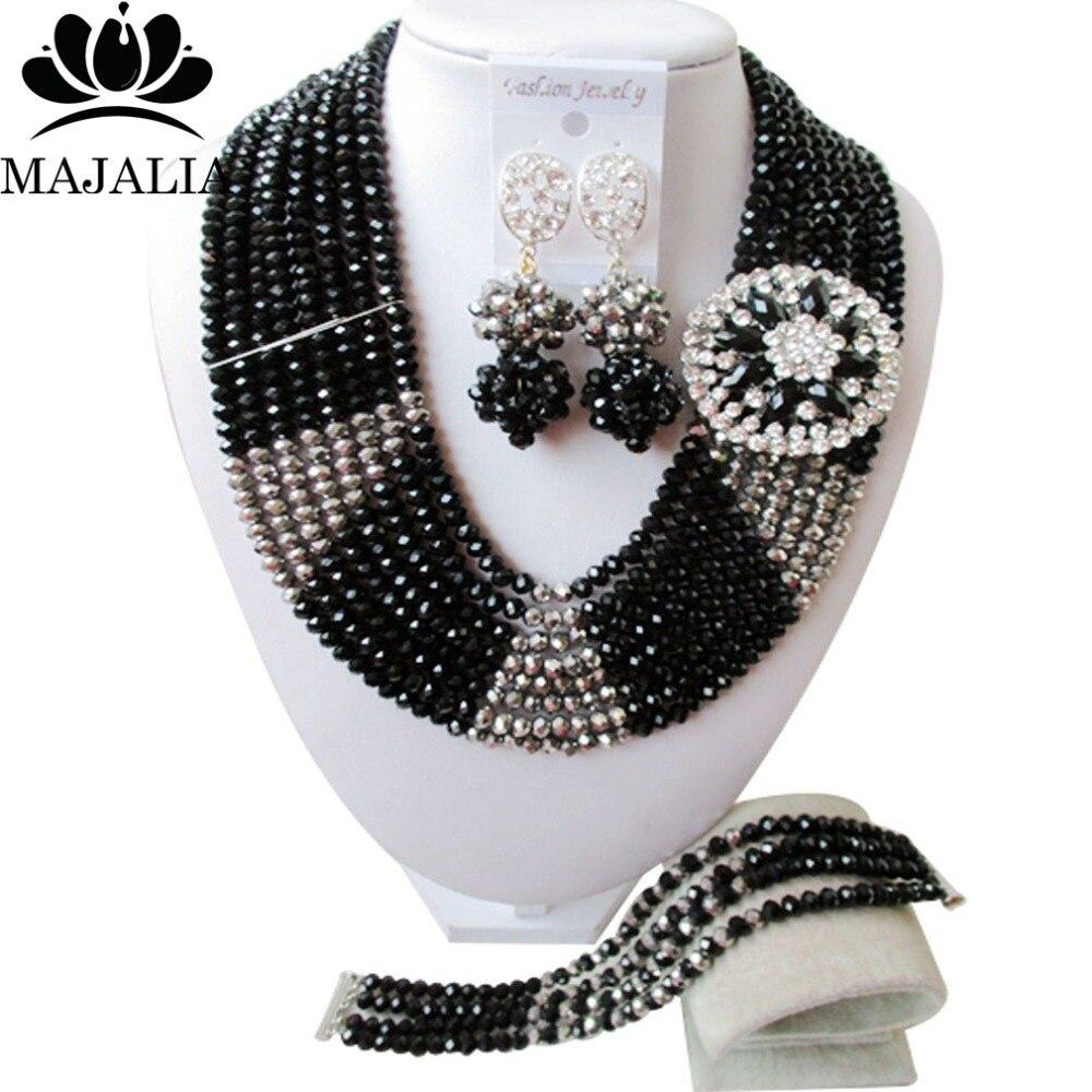 Fashion african jewelry set black nigerian wedding african beads jewelry set Crystal Free shipping Majalia-406Fashion african jewelry set black nigerian wedding african beads jewelry set Crystal Free shipping Majalia-406
