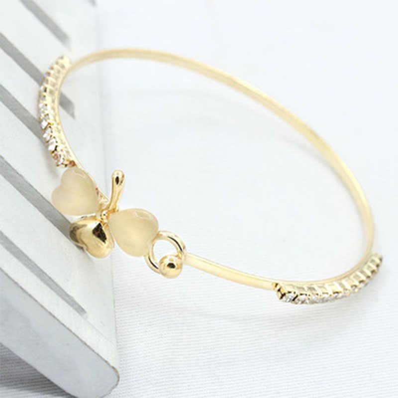 Bowknot Peach Leaf Gold กำไลข้อมือหญิงอัญมณี Charms Golden Heart สร้อยข้อมือสร้อยข้อมือสำหรับผู้หญิง Bijoux WD168