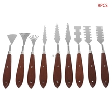 9 قطعة/المجموعة المهنية الفولاذ المقاوم للصدأ الفنان النفط باليت للرسم سكين ملعقة الطلاء البليت الفن