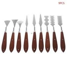 9pcs/set Professional Stainless Steel Artist Oil Painting Palette Knife Spatula Paint Pallet Art