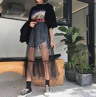 Fashion Womens Ladies Mesh Slim Fit 2PCS Perspective Joint Summer Denim Ruffles Hole Retro Street Skirts Denim skirt