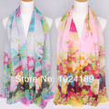 new 2013 wholesale women scarf /100% pure silk chiffon  floral shawl /winter scarves shawls160*50cm sell in 2pcs/lot-c080