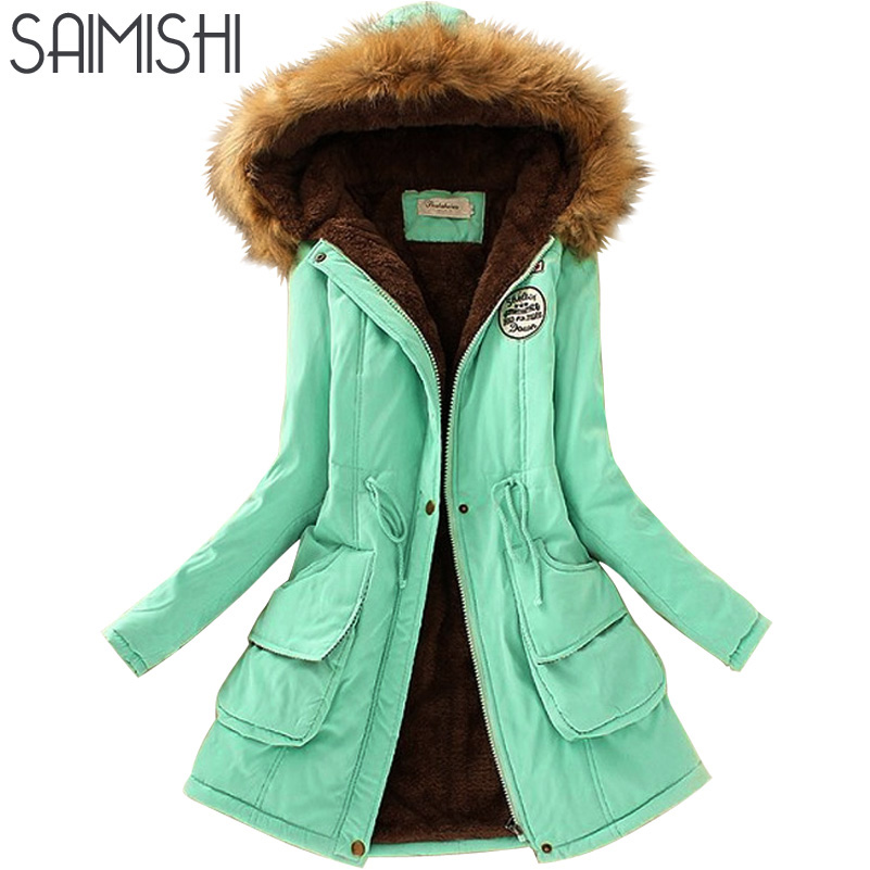 Saimishi Autumn Winter Jacket Women Parka Warm Jackets Fur Collar Coats Long Parkas Hoodies Office Lady Cotton Plus Size