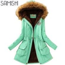 Saimishi куртка осень-зима Женская куртка-парка теплые куртки меховой воротник пальто длинные парки толстовки Офисные женские туфли хлопок плюс Размеры