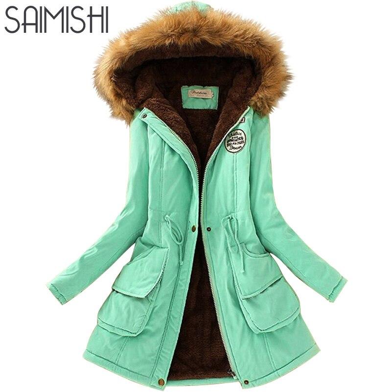 Saimishi Otoño Invierno chaqueta mujer Parka chaquetas cálidas Cuello de piel abrigos Parkas largas sudaderas Oficina señora algodón más tamaño
