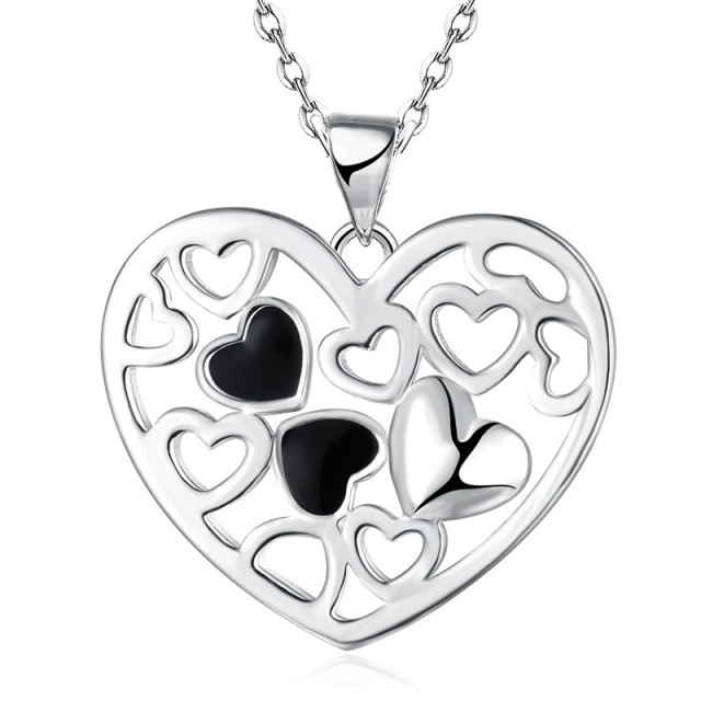 Aliexpress buy fashion jewelry silver heart pendant necklace fashion jewelry silver heart pendant necklace nice valentines day gift top quality global hot mozeypictures