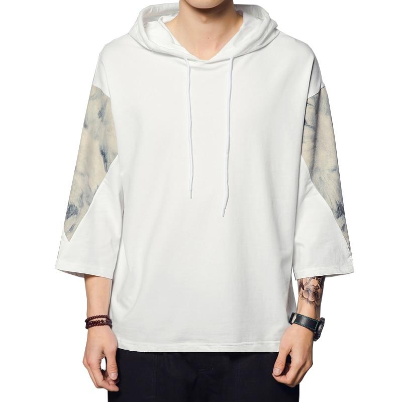 TShirt Men New Fashion Loose Hooded T Shirts Casual Tops Retro Harajuku shirt Gradient Printing Mens 5XL
