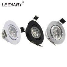 LEDIARY 110V-220V LED Spot Downlights 3W 55mm Hole White/Silver/Black Indoor Living Room Down Lights led Ceiling Recessed Lamp