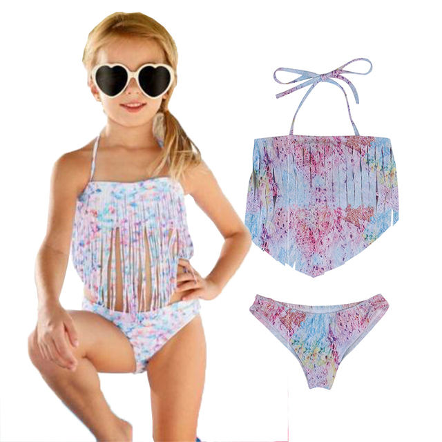 258b054517907 Little Girls Summer Two-Piece Halter Tassels Bikini Swimsuits Sets Kids Girl  Swimwear Swimsuit Bathing