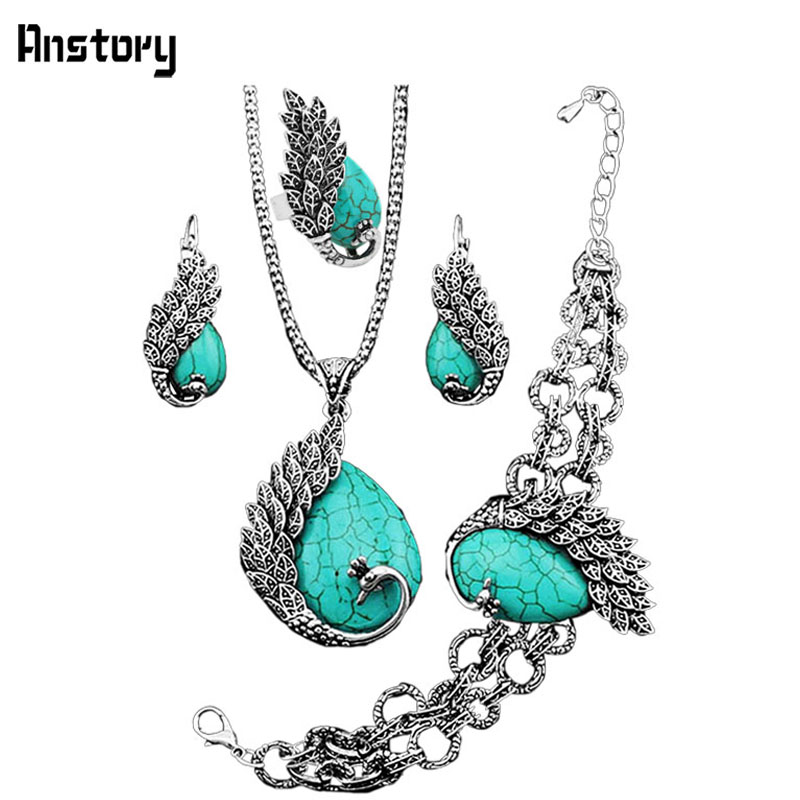 Vintage Look Antique Silver Plated Personality Peacock Pendant Necklace Bracelet Earrings Jewelry Set TS151