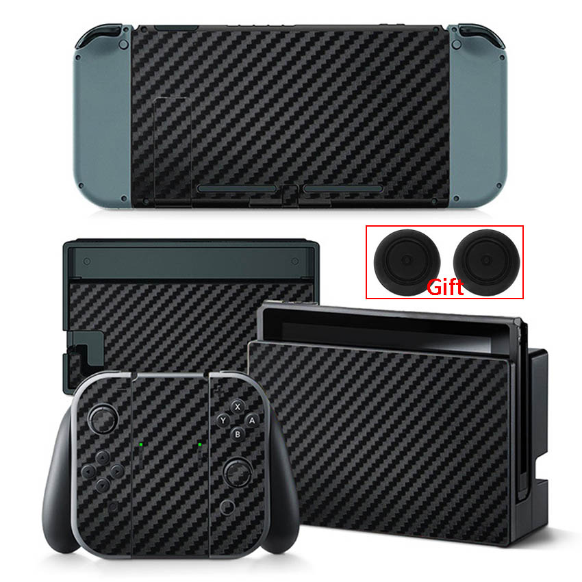 Carbon Fiber Sticker For Nintendo Switch Protection Skin Console Protector Stickers + 2pcs Silicone Protection Caps