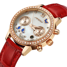 SINOBI Watches Woman Luxury Brand Watch Quartz Watch Full Steel wristwatches Genuine Leather Working Sub dial
