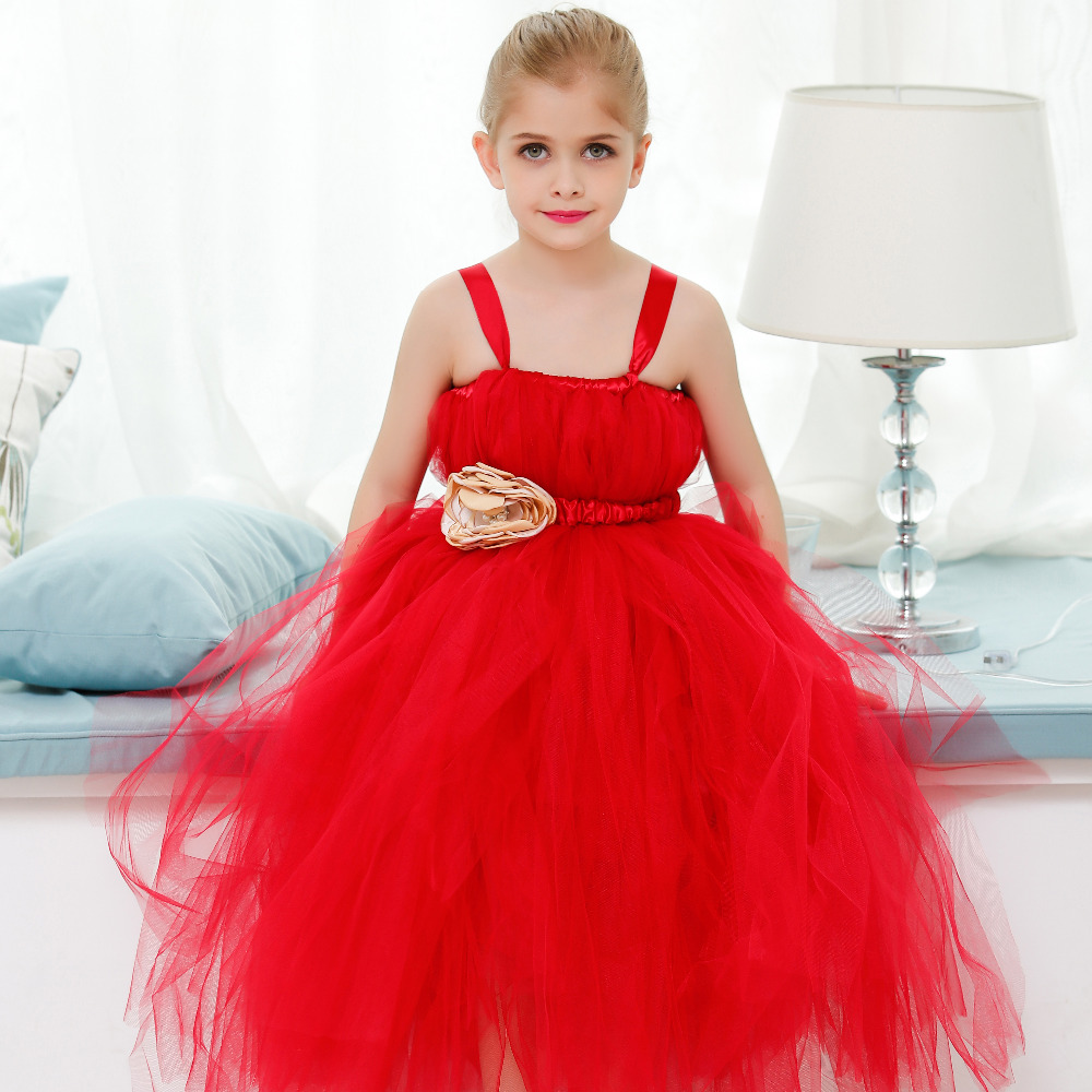 Handmade Flower Girl Tutu Dress with Gold Flowers Children Christmas Carnival Wedding Party Baptism Wear for Special Occassion guilin guangxi hong source specialty rose flowers cake 240g6 gold handmade flower cake pastry boxed 2 boxes
