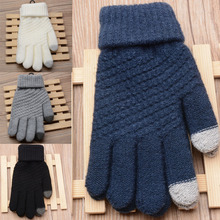 Fashion 1 Pair Unisex Touch Screen Gloves Stretch Knit Mittens For Mobile 4 Colors Free Size fashion plush warmer touch screen gloves for women black white pair