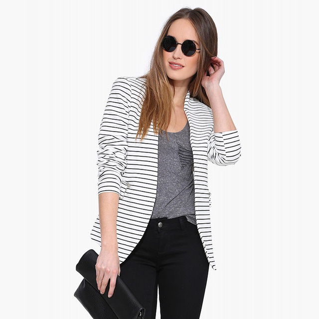 Black and white striped blazer suit