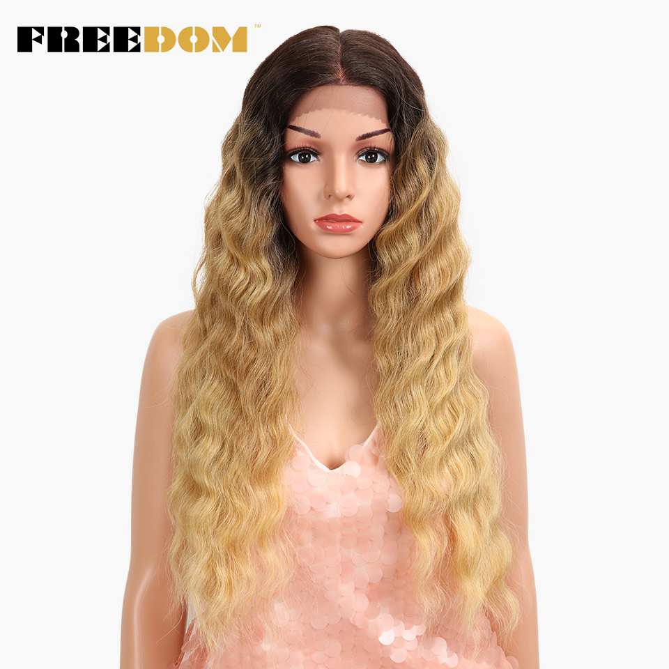 FREEDOM Free Parting Synthetic Lace Front Wig 28 inch Ombre Blond Wig For Black Women Fashion Wig American Hot Sale Fantezi hair