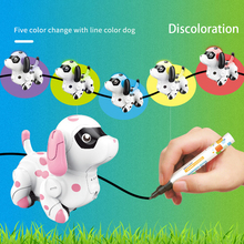 Follow Any Drawn Line Cute Colors Changing Smart Animals Electric Gift Inductive Puppy Model Children Toy Indoor Robotic Dog
