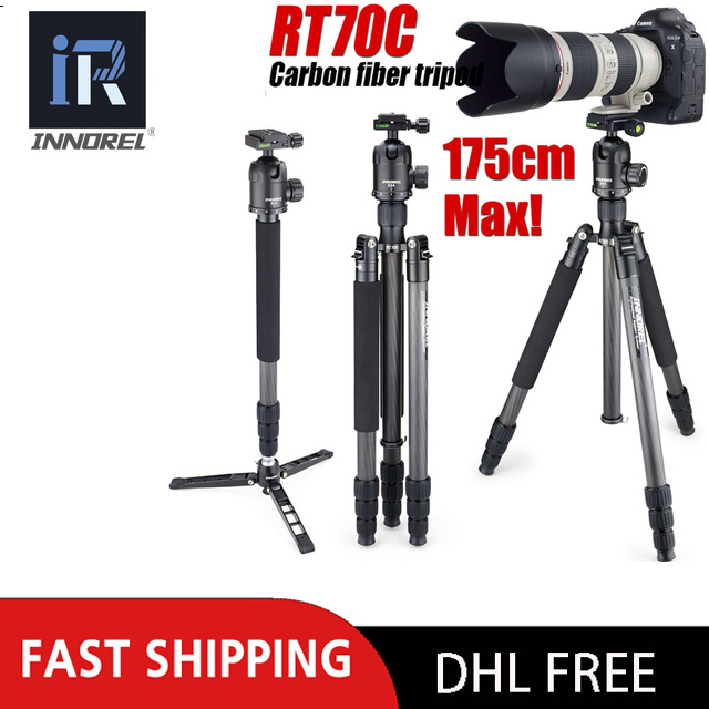 INNOREL RT70C Carbon Fiber Tripod Monopod Portable 15KG bear DSLR video digital camera tripod Stand professional for Nikon Canon