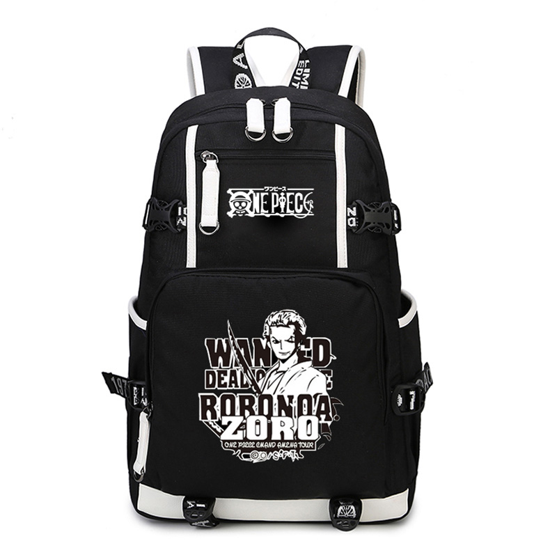 9312f8817868 New Anime One Piece Monkey D Luffy Team Skull Chopper Law Roronoa Zoro  Women Men Backpack Schoolbag Bag Boys Girls Student-in Backpacks from  Luggage   Bags ...