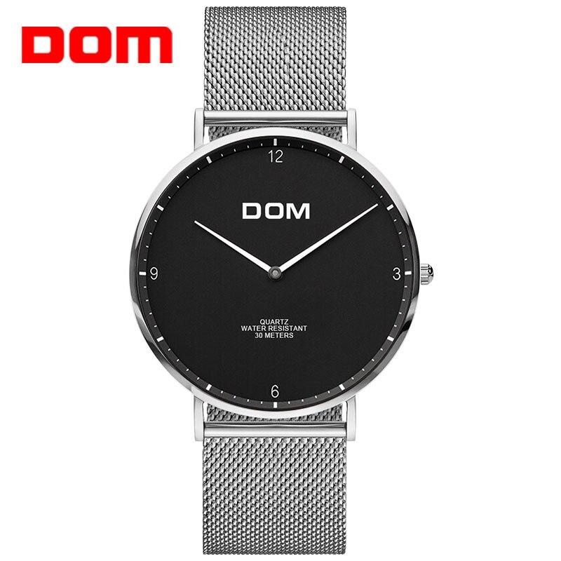 DOM Топ Элитный бренд Мужские часы Нержавеющаясталь сетка ремень Бизнес кварцевые Для мужчин наручные часы ультра тонкие Relogio masculino 2018