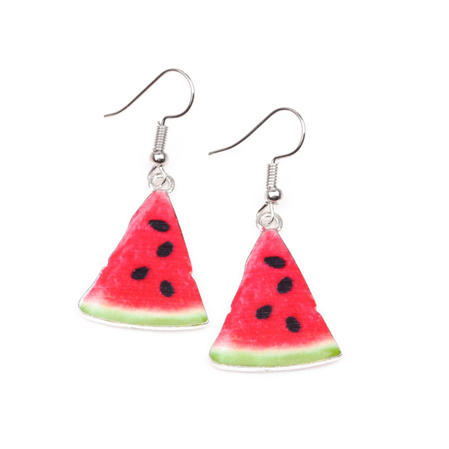 New Arrival Watermelon Dangle Earrings Triangle Long Earring Alloy Fruit Red  Brincos Women Boucle D'
