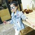 Весна детская одежда девочек мода повседневная ковбой куртка личность звезда шаблон длинные полный рукава демин большая девочка пальто 008