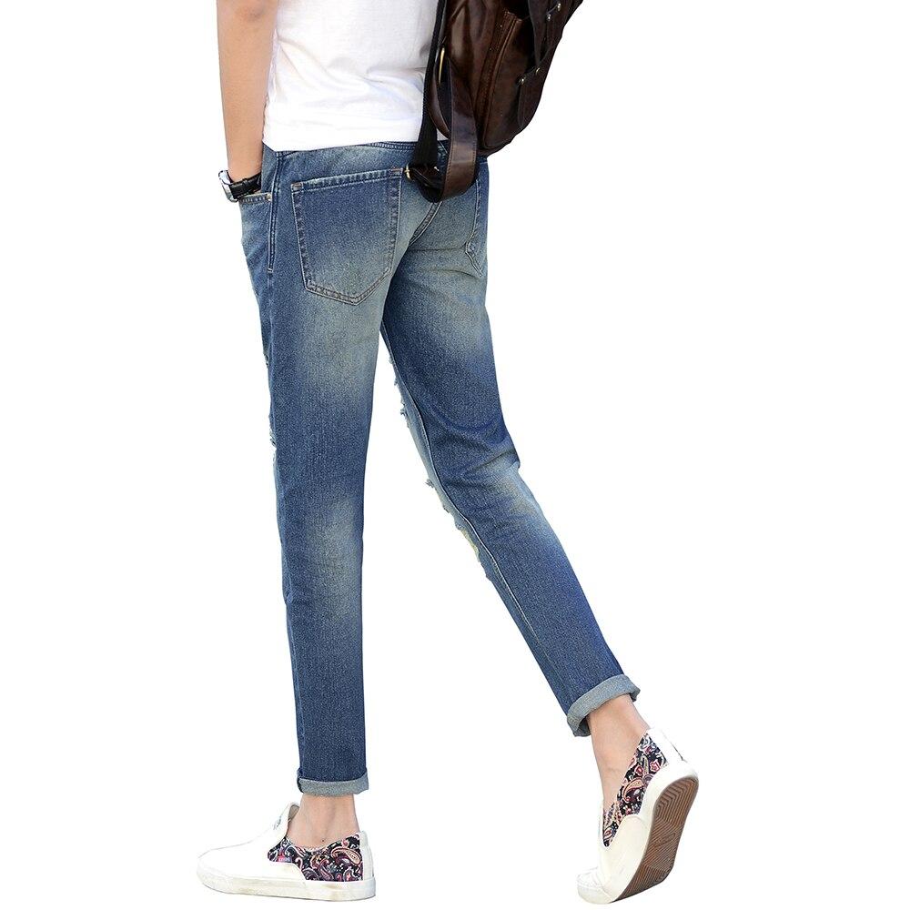 Ankle Jeans Men Light Blue Denim Slim Fit Jeans For Men Comfort Skinny Jeans Trousers Pants For Men