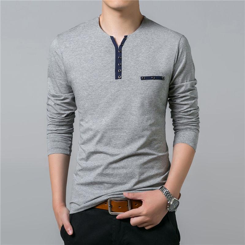 HTB1JcYAPpXXXXc6aXXXq6xXFXXXU - COODRONY Cotton T Shirt Men 2018 Spring Autumn New Long Sleeve T-Shirt Men Henry Collar Tee Shirt Men Fashion Casual Tops 7617