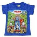 Verano 100% algodón Thomas bebé de los niños T-shirt tren coche muchachos cabeza camisa de cuello redondo T ropa para niños 4 color envío gratis