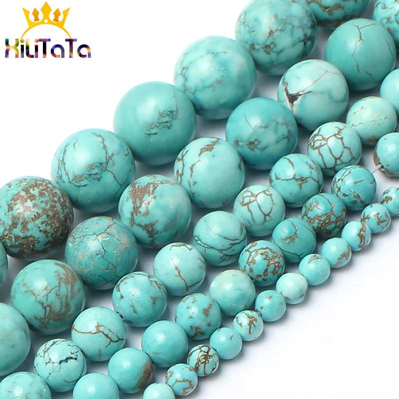 Natural Blue Turquoises Stone Beads Round Loose Spacer Beads 15inches 4/6/8/10/12/14mm For Jewelry Making DIY Bracelets Necklace