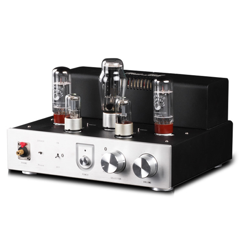 Music hall Integrated Bluetooth EL34 Vacuum Tube  Amplifier Audio HiFi Stereo Headphone Amp Handmade Scaffolding Aluminum Panel free shipping wall light remote control touch switch us standard gold crystal glass panel with led 50hz 60hz