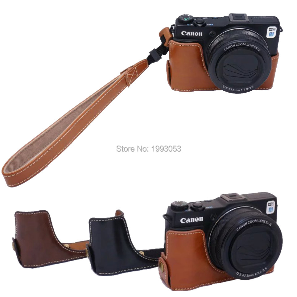 For <font><b>Canon</b></font> <font><b>G1X</b></font> II <font><b>G1X</b></font> mark 2Camera Professional Bottom Camera Bag Fashional Leather <font><b>Case</b></font> Bady <font><b>Case</b></font> with Strap Black Coffee Brown image