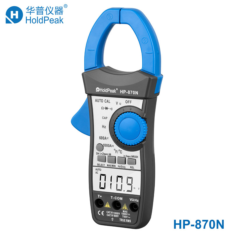 New HoldPeak HP-870N AC/DC Digital Clamp Meter Multimeter Pinza Voltage Amperimetro True RMS Frequency Multi Meter Data Hold mini multimeter holdpeak hp 36c ad dc manual range digital multimeter meter portable digital multimeter