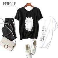 2017 Summer Women Tops Photosensitive Change Owl 80 Mercerized Cotton T Shirt Short Sleeve V Neck