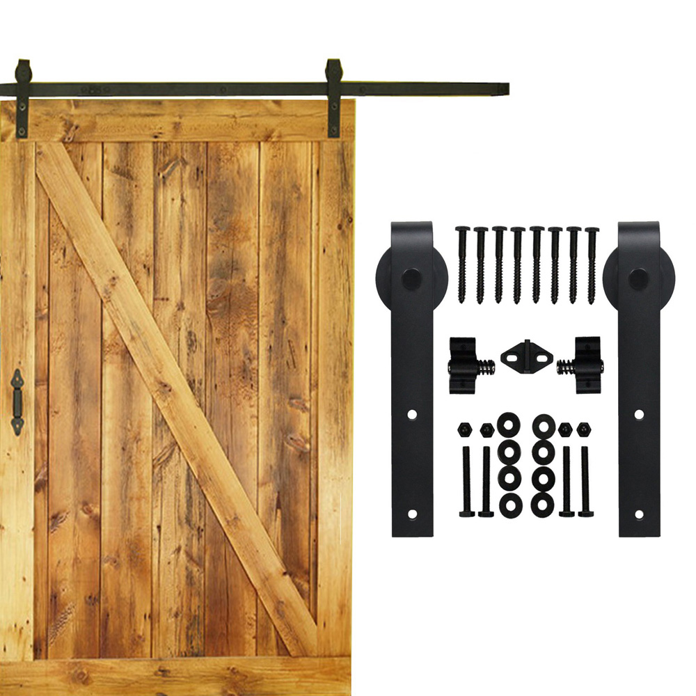 Barn door hardware shop and buy online - 5 16 Ft Single Sliding Barn Wood Door Hardware Interior Top Mounted Rustic Black Sliding Barn Door Hardware