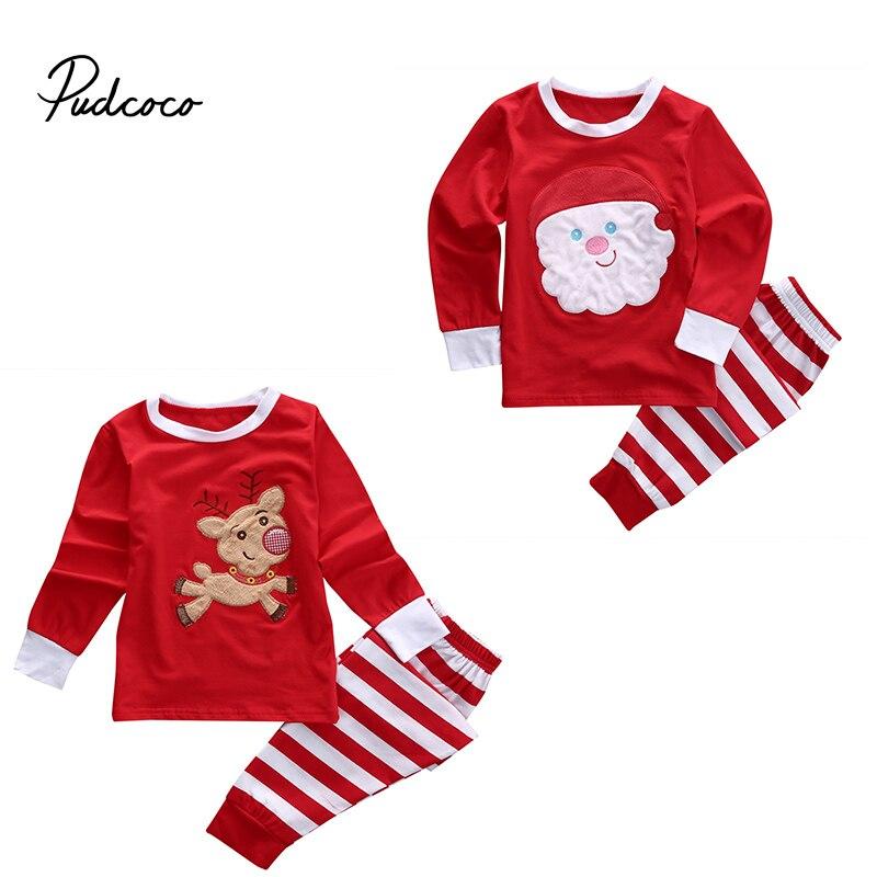 Baby Kids Xmas Pjs Clothing Set Kid Babies Christmas Santa Claus Tops+Striped Pants Sleepwear Nightwear Pyjamas Outfits