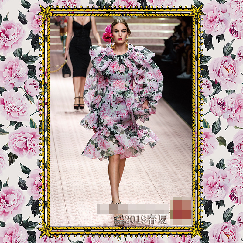 New pre sale 2019 spring and summer fashion high grade pink printed fabric dress tops women