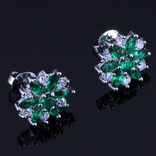 Valuable Flower Green Cubic Zirconia White CZ 925 Sterling Silver Stud Earrings For Women V0385