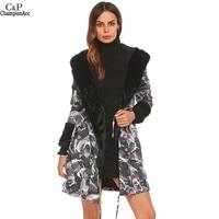 FANALA 2017 Winter Warm Fleece Jacket Women New Long Parka Coat Faux Fur Hooded Coat Camouflage