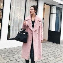 Женщины Осень теплое зимнее пальто куртки толстый длинный oversize-розовый высокое качество длинный Европейский Стиль элегантный пальто для леди A3582