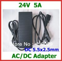 20pcs DHL High Quality 24V 5A 120W Power Supply AC DC Adapter DC 5 5x2 5mm
